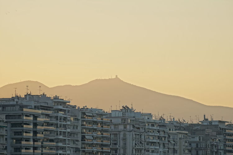 View of cityscape against clear sky