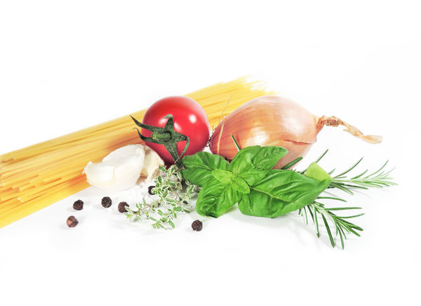 Cooking ingredients, spaghetti pasta, fresh herbs and tomatoes isolated on white background. Isolated Close-up Cooking Ingredients Coriander Food Food And Drink Freshness Garlic Healthy Eating Herb Indoors  Ingredient Isolated White Background Italian Food No People Pasta Preparation  Raw Food Spaghetti Spice Still Life Studio Shot Tomato Vegetable White Background