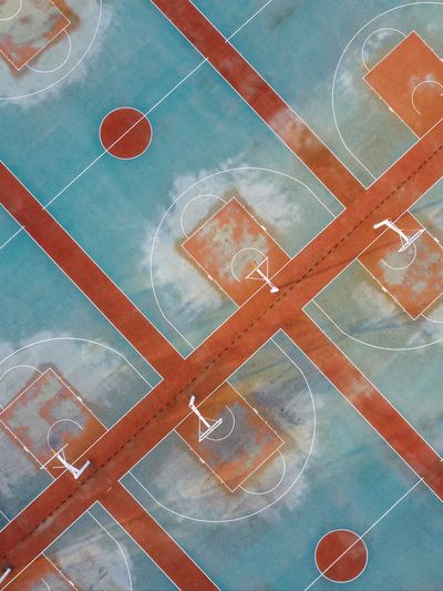High angle view of basketball hoops on sports court