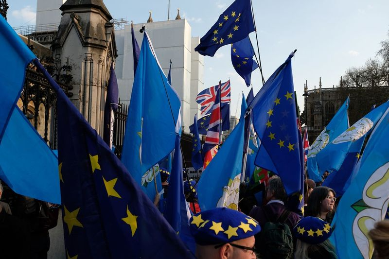 Anti-Brexit protesters outside Houses of Parliament before MPs failed again to agree on proposals for the next steps in the Brexit process. The plan Theresa May negotiated with the EU has been rejected three times. Theresa May now has until 12 April to either seek a longer extension from the EU to take a different course or decide to leave the EU without a deal. . Flag Patriotism Building Exterior Built Structure Architecture Sky Nature