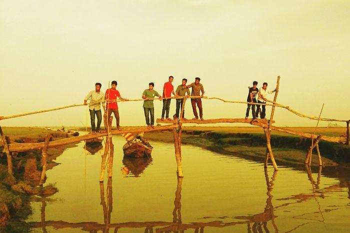 Hatiya Bangladesh. Men Lake Sky Bangladesh 🇧🇩 Outdoors No Flash Natural Beauty Nature Photography Mobography EyeEmNewHere