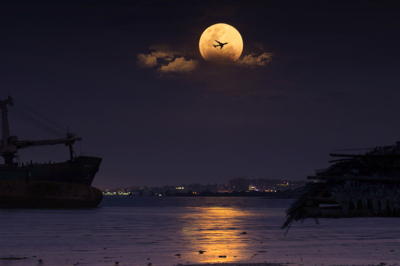 moon, night, sky, no people, nature, outdoors, architecture, water, astronomy, city