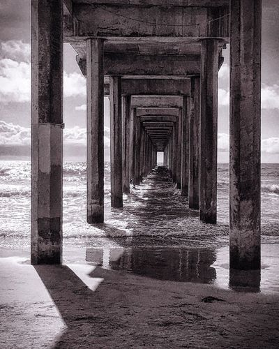 Scripps Pier, CA In A Row Built Structure Architectural Column Water Architecture SUPPORT Pier Column Diminishing Perspective The Way Forward Below Sea Wave Vanishing Point Repetition Colonnade Corridor Day Long Scenics