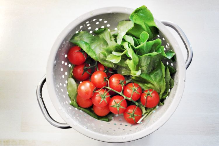 High angle view of vegetables in colander