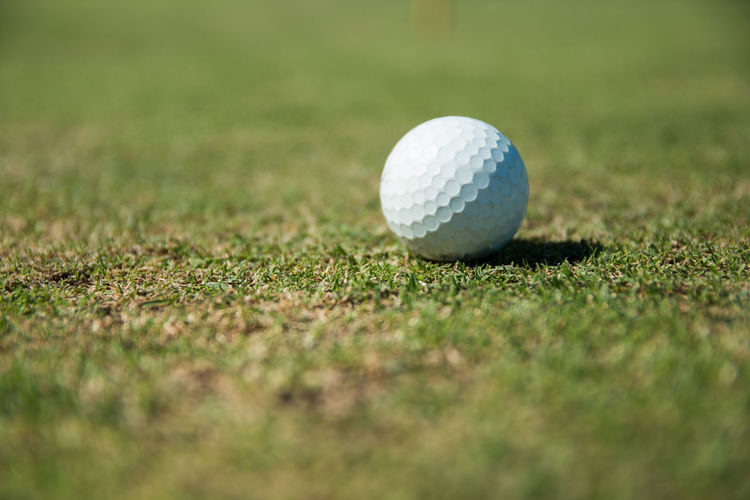 Golf Ball Golf Ball Sport Golf Course Grass Activity Leisure Activity Green - Golf Course Green Color Selective Focus Close-up Hole No People Plant Weekend Activities Putting Taking A Shot - Sport Putting Green Outdoors Surface Level Close To At The Edge Of