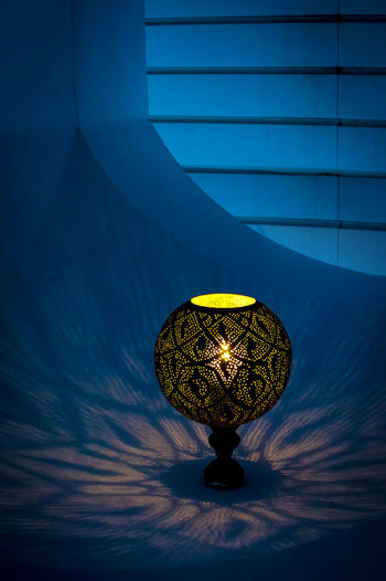 Backgrounds Blue Close-up Illuminated Indoors  Lamp No People Oriental Design Oriental Lamp Pattern Refraction Shiny Soft Light Of A Candle Soft Lighting Wallpaper