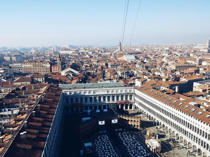 High Angle View Of Piazza San Marco In City Against Clear Sky
