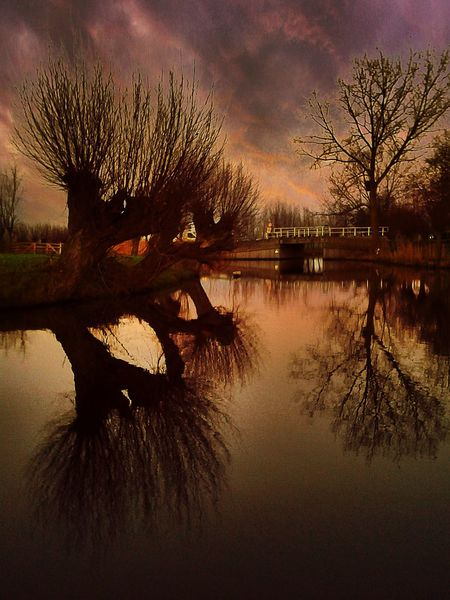 Showcase: February Dark Clouds Dutch Landscape Country Road Cloudy Pond Landscapes With WhiteWall