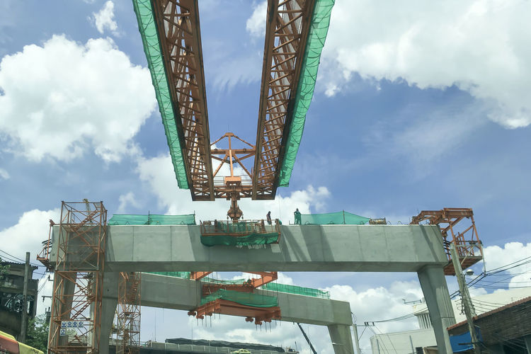 Construction Site Transportation Architecture Arts Culture And Entertainment Built Structure Cloud - Sky Construction Industry Crane - Construction Machinery Day Excitement Fun Industry Low Angle View Machinery Metal Nature No People Outdoors Sky Structure Tall - High