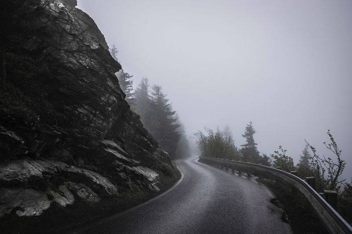 Foggy Morning at Jested Mountain in Liberec , Czech Republic | Hiking Black And White Fog Foggy Morning Stone Wall Street To The Top Darkness And Light Black & White Misty Finding New Frontiers Welcome To Black