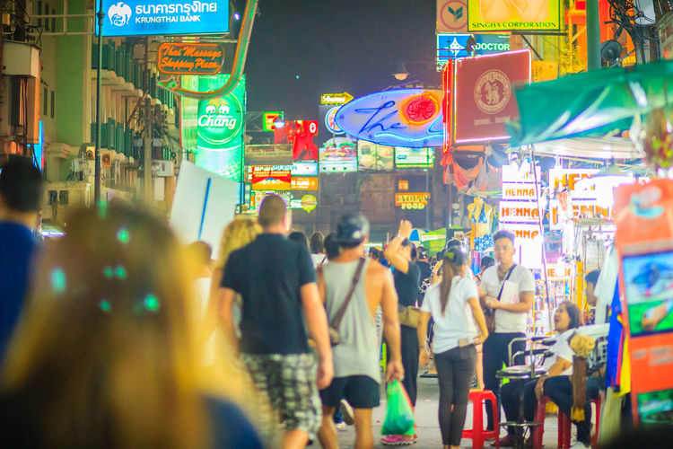 Bangkok, Thailand - March 2, 2017: Tourists and backpackers visited at Khao San Road night market. Khao San Road is a famous low budget hotels and guesthouses area in Bangkok. Khao San Rd Khao San Road KhaoSan Khaosan Rd. Khaosandroad Tourist Tourist Attraction  Tourists Architecture Building Exterior Built Structure City City Life City Street Communication Crowd Group Of People Illuminated Khao San Khao San Knok Wua Khao San Rd. Khaosan Road Khaosanroad Large Group Of People Men Motion Neon Night Night Market Night Market In Thailand Night Market, Nightlife Real People Selective Focus Street Text Tourist Destination Walking Women