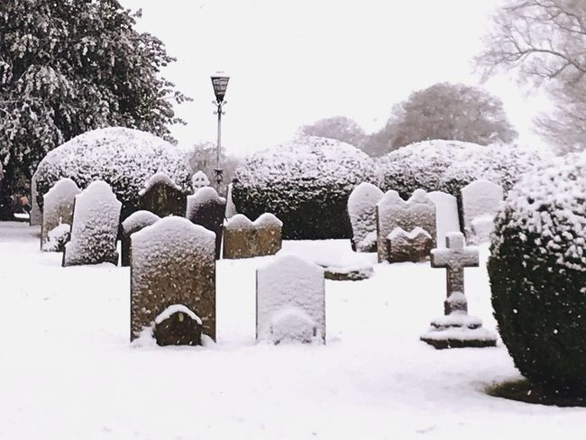 Winter Cold Temperature Snow Cemetery No People Headstone Lavenham