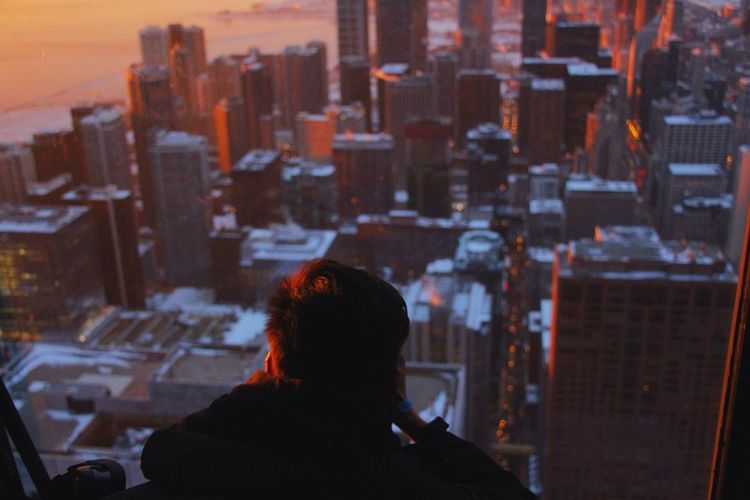 His City Aerial Shot Aerial View Architectural Column Architectural Detail Architectural Feature Architecture Architecture Architecture_collection Chicago Chicago Architecture City City City Life Cityscape Cityscape Male Man One Person People People Watching Urban Urban Landscape