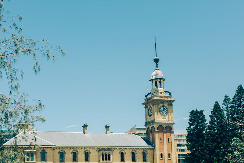 Sky Architecture Building Exterior Built Structure Building Tree Plant Religion Clear Sky Nature Belief Spirituality Low Angle View Tower No People Place Of Worship Day Blue Outdoors Clock Spire  Newcastle NSW, Australia Outdoor
