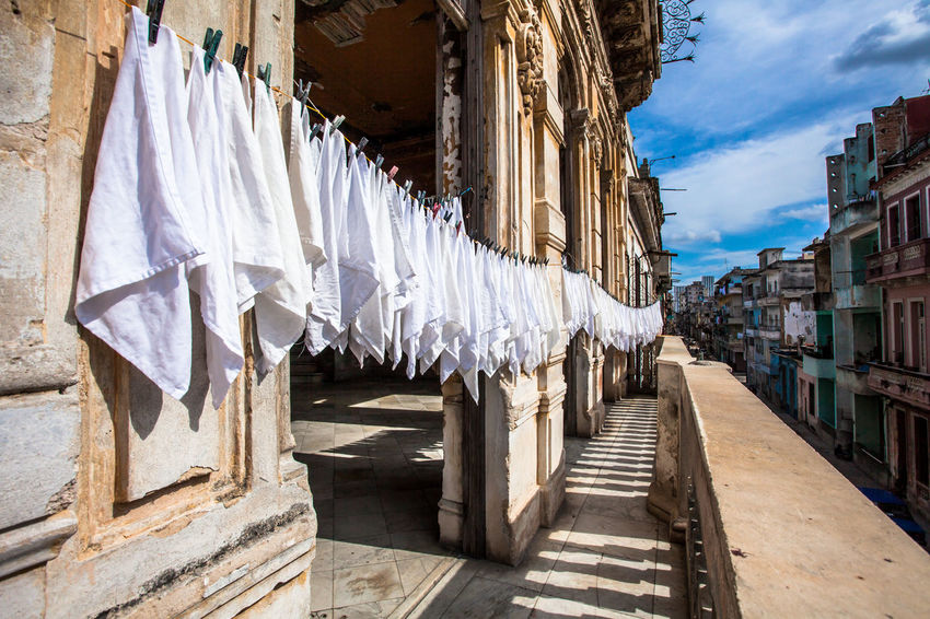 Washed napkins hanging outside a restaurant in Centro Havana, Cuba. Architecture Balcony Clothesline Cuba Cuban Façade Havana Napkin Old Buildings Travel Travel Destinations Washing Clothes
