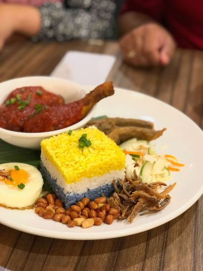 Three layer rice Grabyourfood Restaurant Makanan Nasitigabenua Rice Nasi Food And Drink Food Plate Ready-to-eat Table Indoors  Freshness Meal Food And Drink Meal Close-up