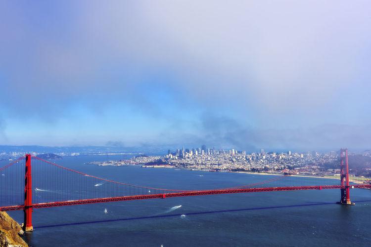 Golden gate bridge over san francisco bay against sky