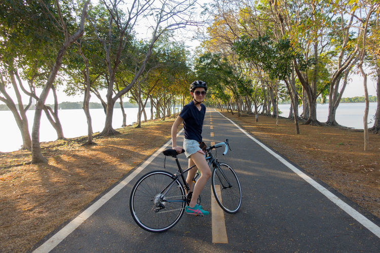 Man riding bicycle