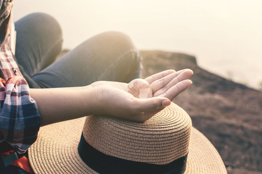 Travel Finger Human Hand Lifestyles Nature One Person Relaxation Sitting World