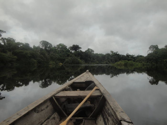 Amazon Amazonas Beauty In Nature Boat Brasil Cloudy Colombia Jungle Leticia No People Rainforest Reflection River Sky Still Waters Tree Water Wood - Material Wooden Boat