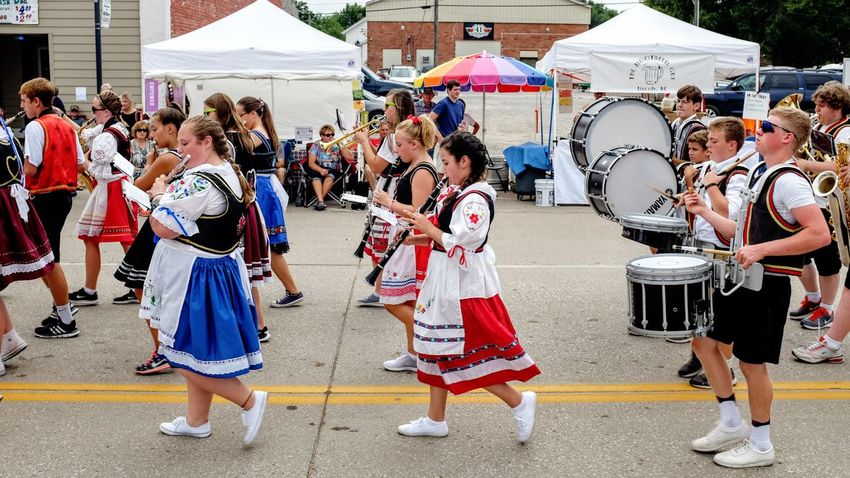 55th Annual National Czech Festival August 5, 2016 Wilber, Nebraska Americans Brass Band Celebration Color Photography Community Czech Days Czech Festival Drums Event High School Band Large Group Of People Main Street USA Marching Band Midday Sunlight Nebraska Outdoors Parade Polka Music Smal Town USA Small Town America Small Town Stories Streetphotography Teenagers  Traditional Culture Wilber, Nebraska