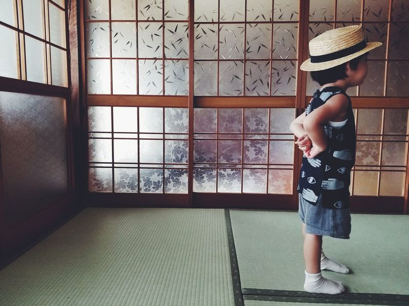 One Person Standing Kids Boy Child Childhood Galaxy Japan Sumsung Straw Hat Casual Clothing One Boy Only EyeEmNewHerе GalaxyS8+ Inspirations