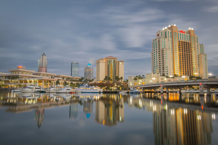 Tampa skyline with lake in foreground