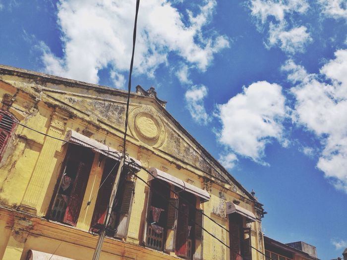 Colour Of Life Vibrant Colors Vibrant Building Architecture Photography Architecture Old Buildings Old Building  Old Building Exterior Old Town Malaysia Sky Blue Blue Sky Sky And Clouds IPhone IPhoneography IPhone5 Iphoneonly Eyeemphoto TakeoverContrast Dramatic Angles