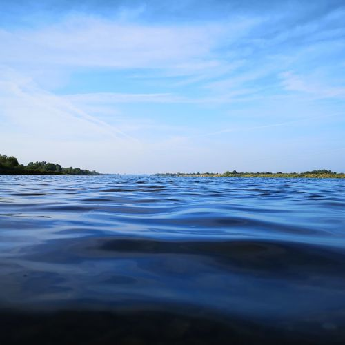 Surface level of lake against sky
