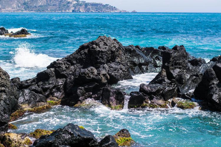 Sicily Blue Giardininaxos Landscape No People Photography Rocks Sea Sky Waves