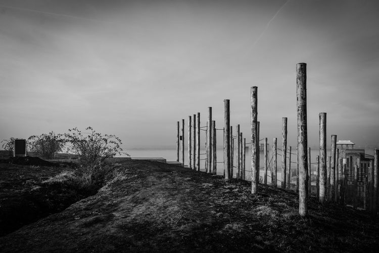 Wooden posts against sky