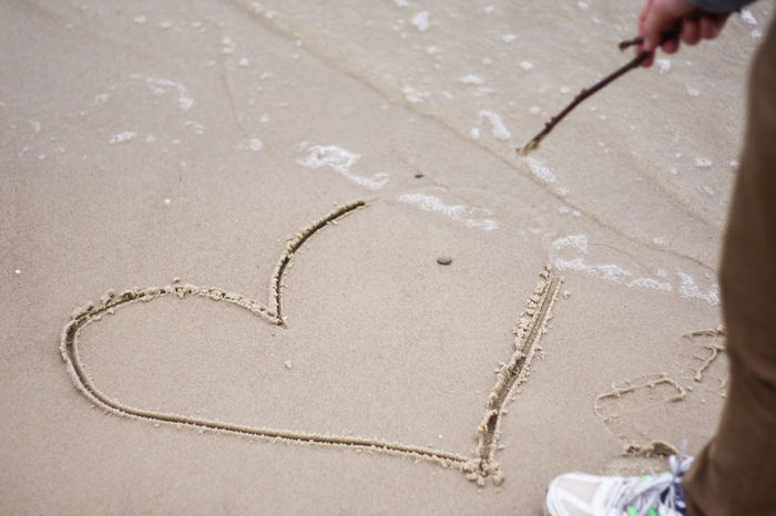 Beach Close-up Drawing - Activity Handwriting  Handwritten Heart Heart Shape Herz Liebe Love Nature Ocean Outdoors Sand Valentine Valentine's Day  Valentinstag Wave