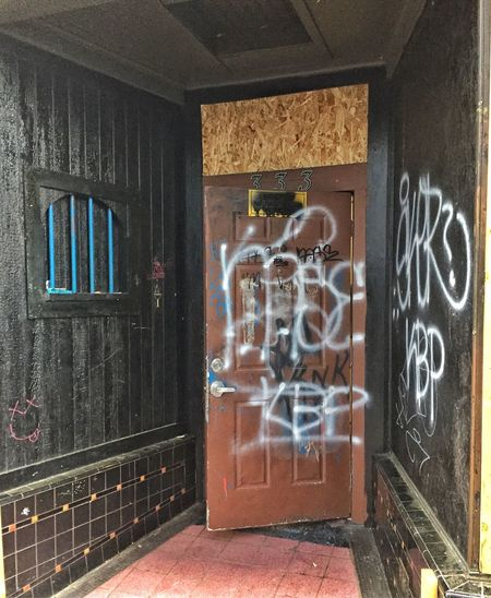 Abandoned Night Club in Portland, Oregon Abandoned Portland Oregon Black Colored Door City Abandoned Night Club Graffiti Architecture Glass - Material Built Structure Day No People Building
