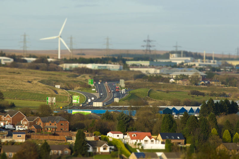 Tilt-shift Architecture Beauty In Nature Built Structure Day Green Color Landscape Nature No People Outdoors Rural Scene Sky Tiltshift Wind Power Wind Turbine Zoom