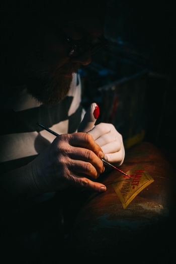 Caferacer Special Painting Human Hand Working Men Tradition Close-up