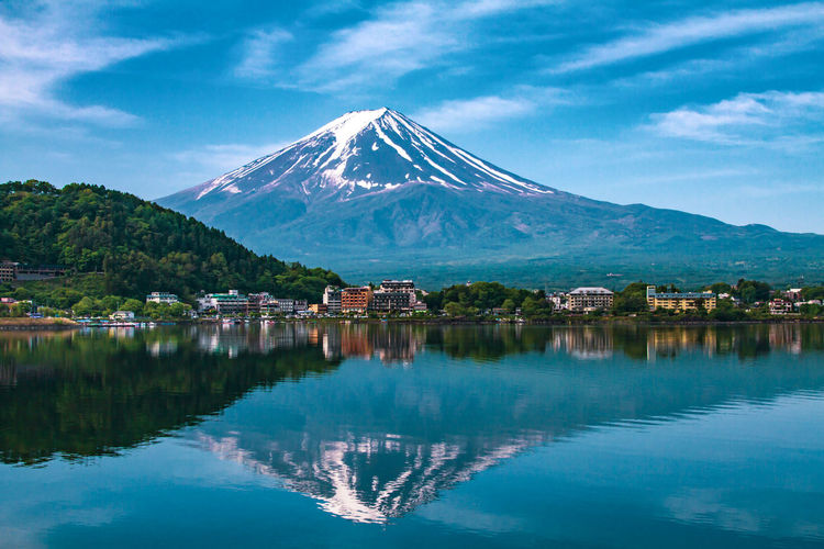 Reflection of Mt Fuji at lake Kawaguchiko Beauty In Nature Cloud - Sky Cold Temperature Day Lake Mountain Mountain Peak Mountain Range Nature No People Outdoors Reflection Scenics - Nature Sky Snow Snowcapped Mountain Tranquil Scene Tranquility Water Waterfront Winter
