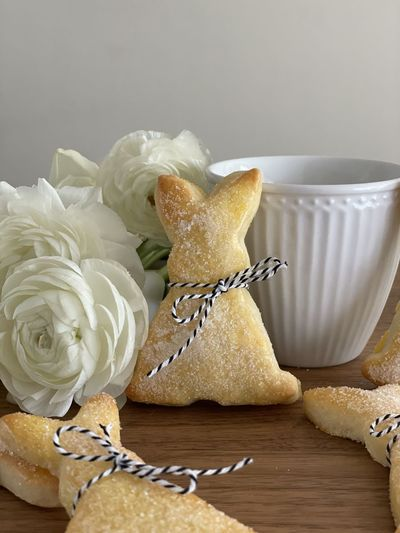 Close-up of cookies on white table