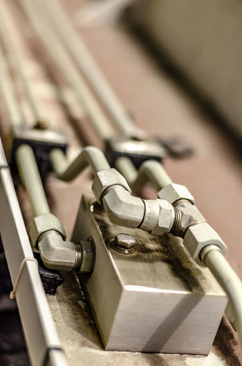 Close-Up Of Pipes In Metal Factory