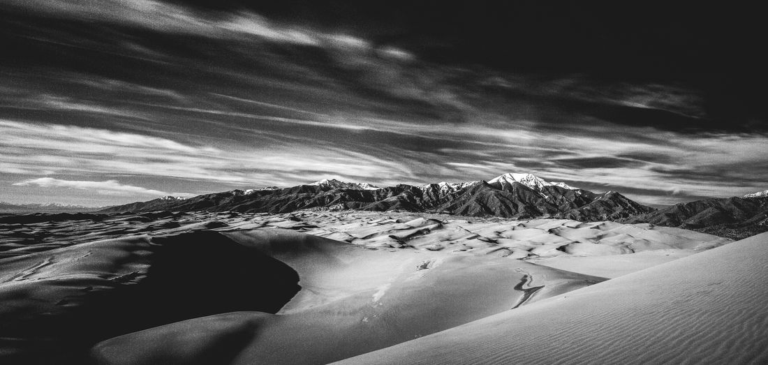 Beauty In Nature Cloud - Sky Cold Temperature Desert Landscape Mountain Nature Outdoors Scenics Sky Snow Tranquil Scene Tranquility Winter
