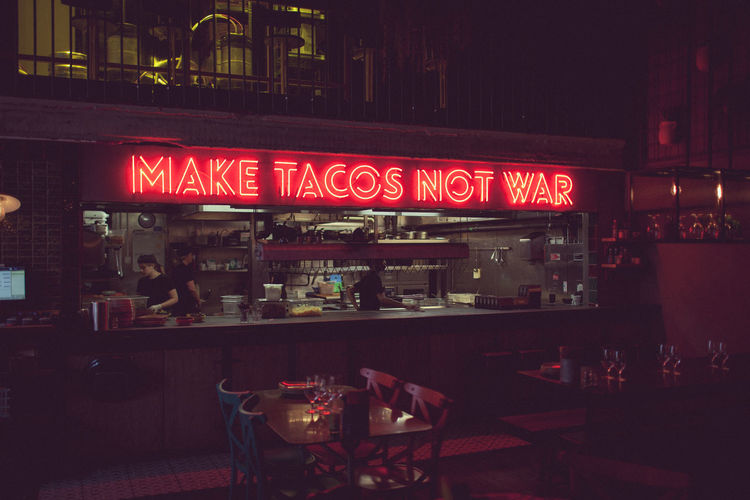 Make Tacos Not War Peace Tacos The Week On EyeEm Bar - Drink Establishment Bar Counter Food And Drink Indoors  Neon Nightlife Restaurant