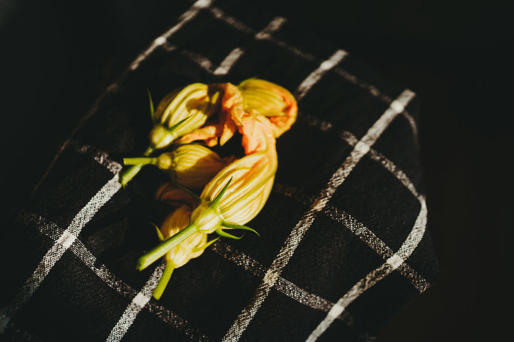 High angle view of tomatoes on rope against black background