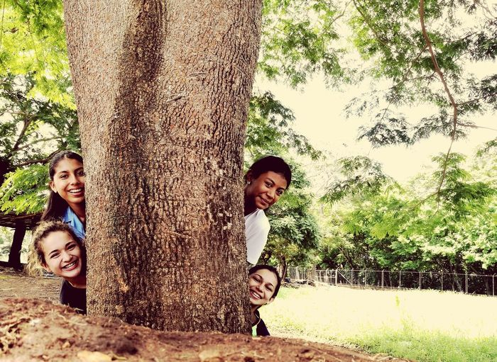 Tree Tree Trunk Boys Looking At Camera Child Smiling Childhood Portrait Happiness Outdoors Day Cheerful Togetherness Elementary Age Growth Standing Fun Nature Sitting Leisure Activity
