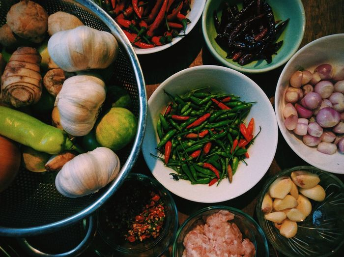 High angle view of thai spices and herb in bowl on table