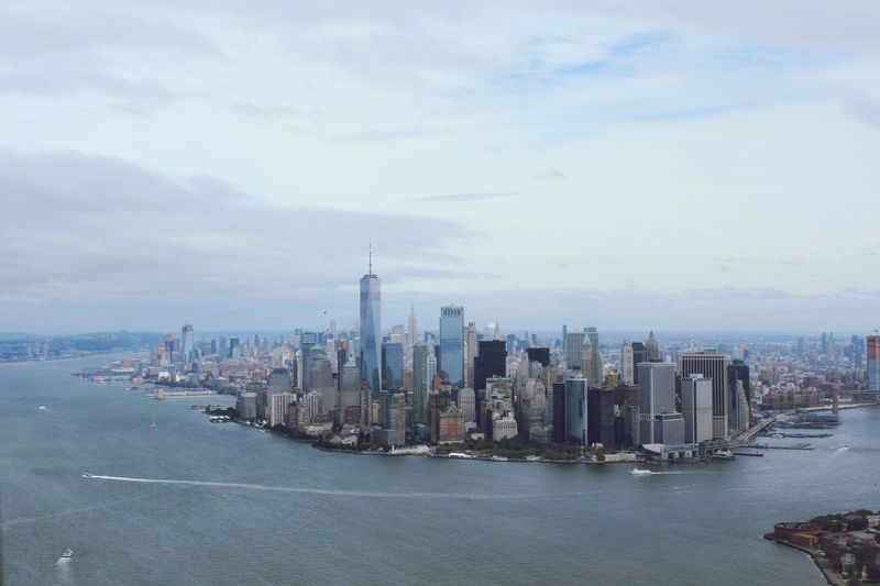 Helicopter flight view 🤩 Liberty Helicopters East River Hudson River Battery Park One World Trade Center Manhattan New York Helicopter View  Architecture City Skyscraper Cityscape Modern Skyline Building Exterior Built Structure Tower Sky Financial District  Downtown District Outdoors Urban Skyline Travel Destinations