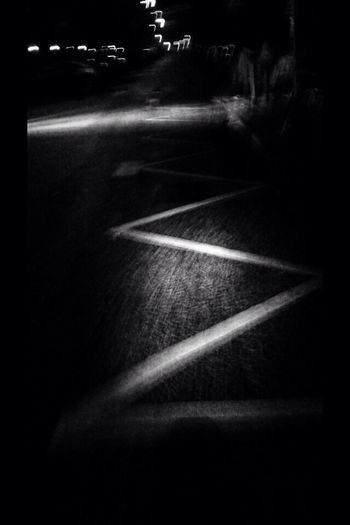 Streetphotography Road Night Street Dark Outdoors No People Blacknwhite Asphaltcowgirl Asphalt Road Marking Late