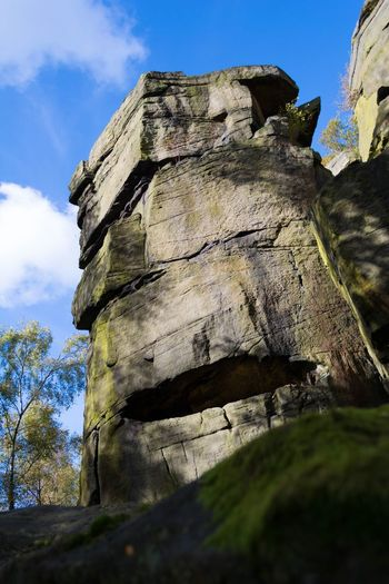 Rock Face Sheffield PeakDistrict Wharncliffe Crag Vivid Blue Sky Nature Outdoors Climbing Cliff Sky Day No People Sunlight Nature Tree Cloud - Sky