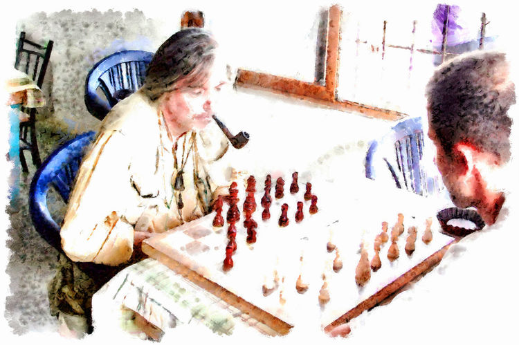 Chess player with a pipe Chess Players Pipe Smoking Adult Adults Only Art Chess Digital Art Digital Painting Indoors  People Pipe Real People Sitting Two People Watercolor Watercolor Painting Young Adult