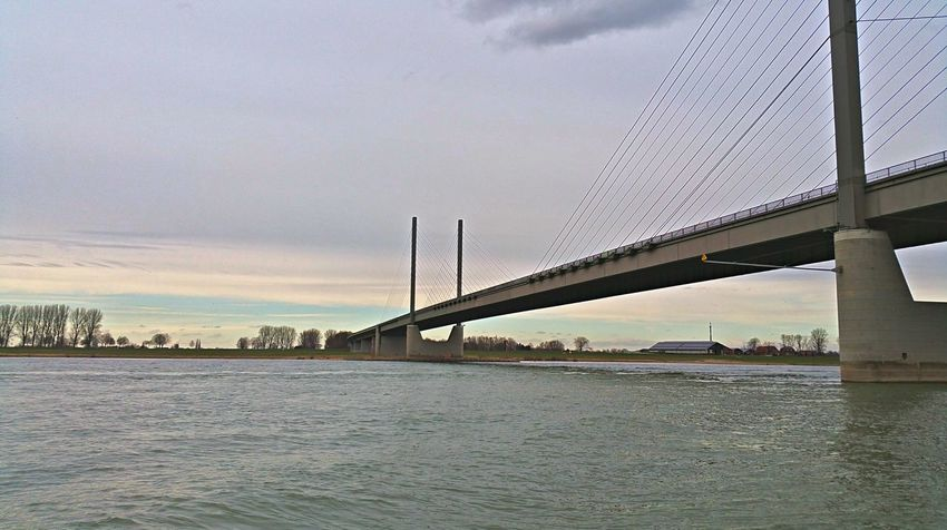 Architecture Bridge Bridge - Man Made Structure Built Structure Cable-stayed Bridge Cloud - Sky Connection Engineering Famous Place International Landmark Kalkar Long Low Angle View Niedermörmter Rees Rhein Rheinbrücke River Sky Suspension Bridge Transportation Travel Travel Destinations Water Waterfront