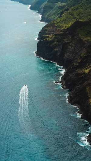 Aerial View Aerial Photography Mountain Island Garden Adventure Hiking Hawaii Travel Waves, Ocean, Nature Nā Pali Coast State Park Tropical Summer Boat Water Wave Sea Beach High Angle View Sand Turquoise Coastline Tide Ocean Surf Sandy Beach Coast Coastal Feature Seascape Shore The Great Outdoors - 2018 EyeEm Awards