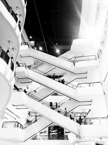 Escalator Blackandwhite Urban Geometry Deceptively Simple